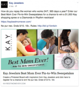 Sample jewelry e-commerce social media post on Facebook to drive Mother's Day sales