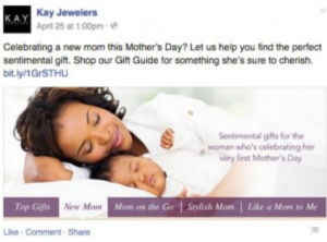 A sentimental Facebook post encouraging consumers to purchase jewelry for Mother's Day