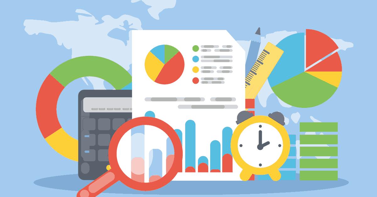 An illustration portraying various elements of marketing analytics