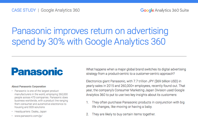 A sample case study outlining how Panasonic achieved heightened digital marketing success because of Google Analytics