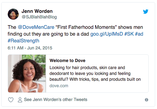 Screenshot of a Tweet from Jenn Worden talking about the Dove Men+Care #RealStrength Father's Day video