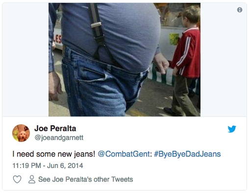 """A tweet portraying a father in """"dad jeans"""" as an entry to Combatant Gentleman's #ByeByeDadJeans Father's Day contest"""