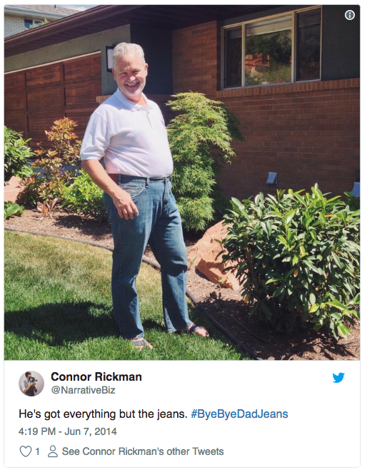 """A tweet showing someone's dad in """"dad jeans"""" as an entry to Combatant Gentleman's #ByeByeDadJeans Father's Day contest"""