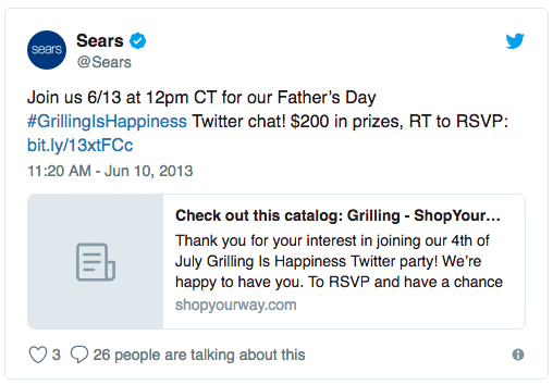 A tweet from Sears promoting their #GrillingIsHappiness live chat for Father's Day