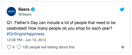 A tweet from Sears posing a question for their audience as part of their #GrillingIsHappiness Father's Day campaign