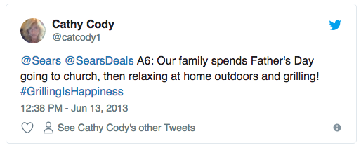 A tweet in response to Sears for their their #GrillingIsHappiness Father's Day campaign